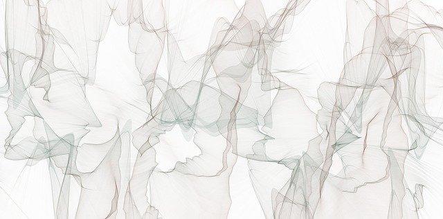 Tableau avec formes floues et grises