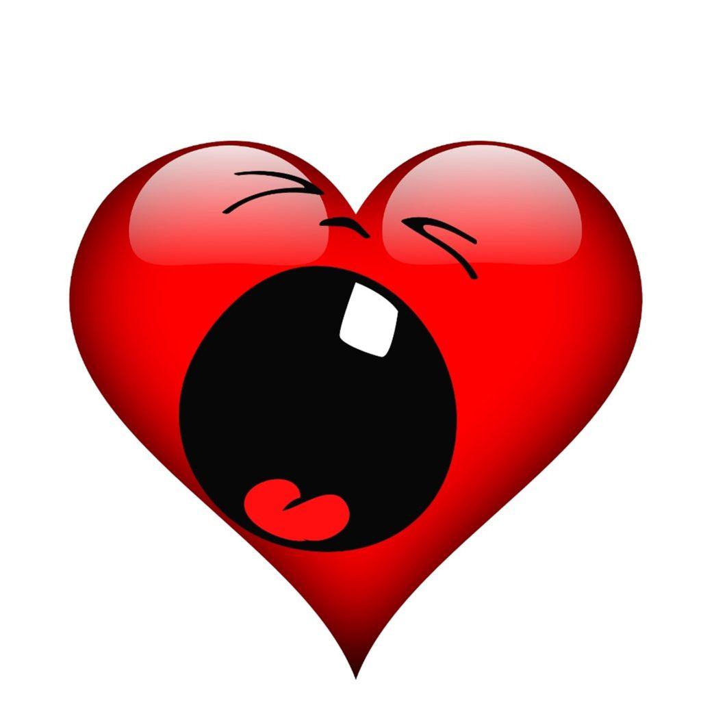 cœur qui pleur avec la bouche grande ouverte